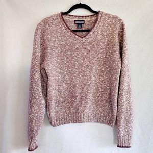 Land's End  Purple Marled  V Neck Sweater